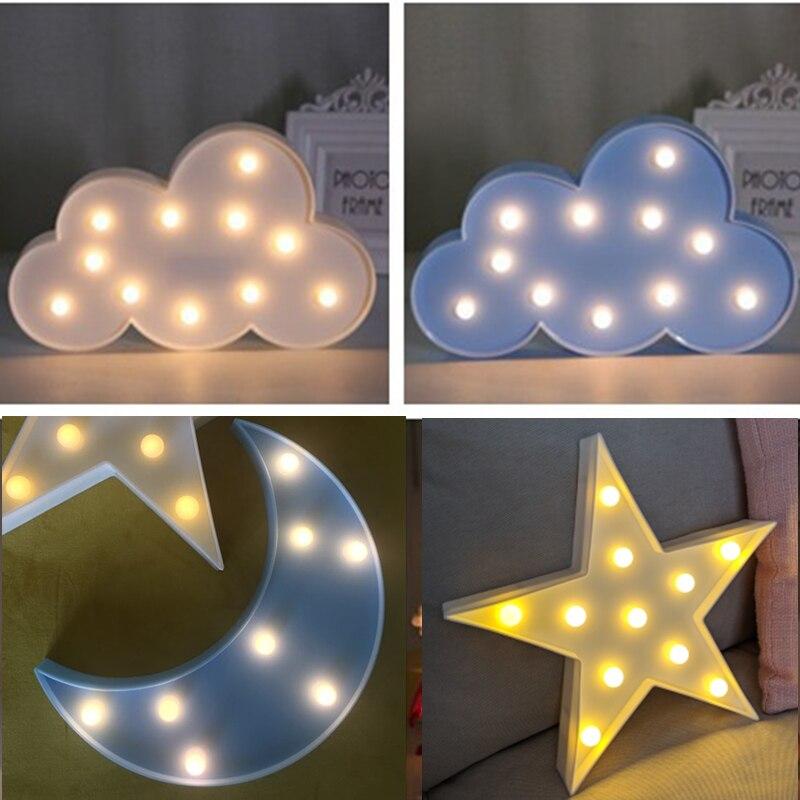 เด็ก Nordic ตกแต่งห้อง Cloud Star Moon LED Night Light เด็กห้องนอนเด็กกระต่าย Cloud Night Light ตกแต่งไม่มีแบตเตอรี่