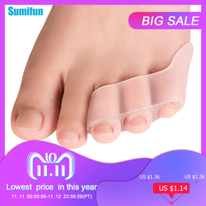 2pcs Three-hole Little Toe Separator Transparent Bunion Pain Relief Toe Straightener Protector Foot Care Tool C1603