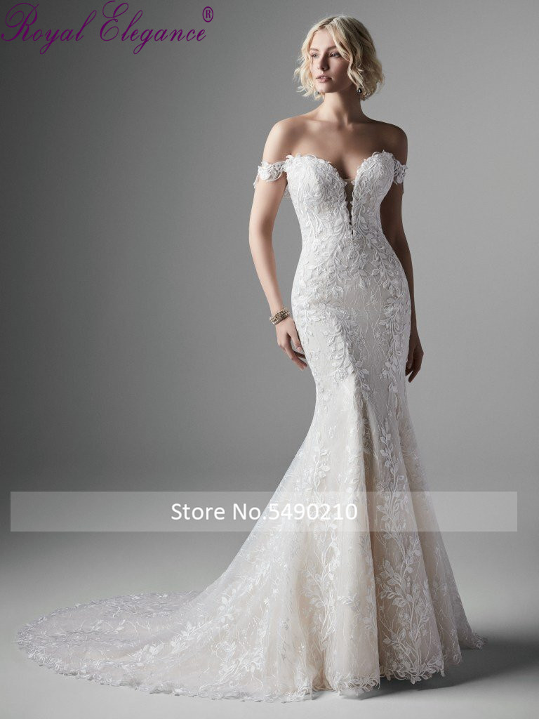 Royal Elegance Mermaid Off Shoulder Sweetheart Neckline Wedding Dress Leave Lace Appliques Robe De Mariee