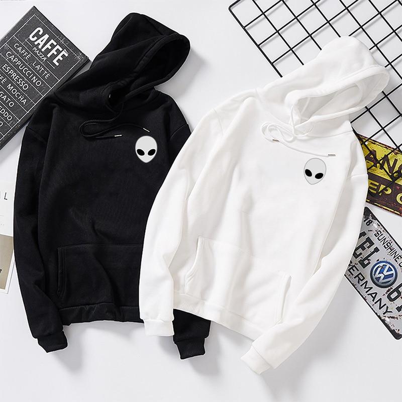 Winter Alien Print Solid Hoodies Women Men Loose Long Sleeve Plus Size Hooded Sweatshirts Cute Harajuku Autumn Pullovers Moletom