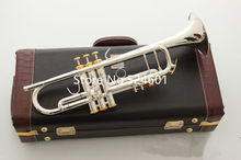 Hot Sell LT180S-37 Trumpet B Flat Silver Plated Professional Trumpet Musical Instruments with Case Free Shipping