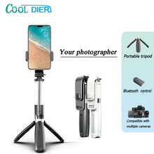 COOL DIER Palo de Selfie inalámbrico 3 en 1, Bluetooth, monopié de mano extensible con obturador remoto, Mini trípode plegable para iPhone