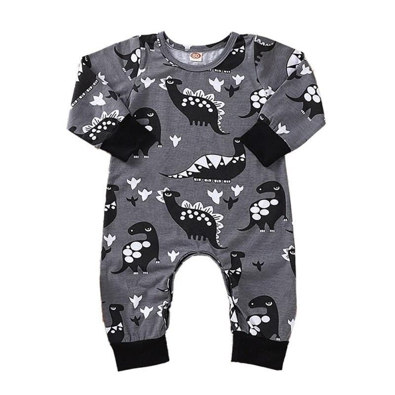 Newest Autumn Infant Baby Girls Long Sleeve Cartoon Dinosaur Print Rompers Kids Boys Bodysuit Jumpsuit