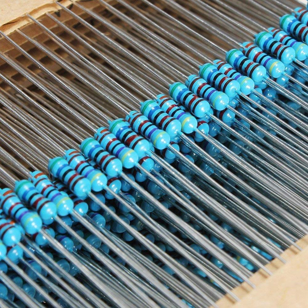 600 Uds. De resistencia de 10 -1M Ohm 1/4W 1% 30 tipos de cada película metálica, juego surtido de resistencias cada uno 20 Uds.