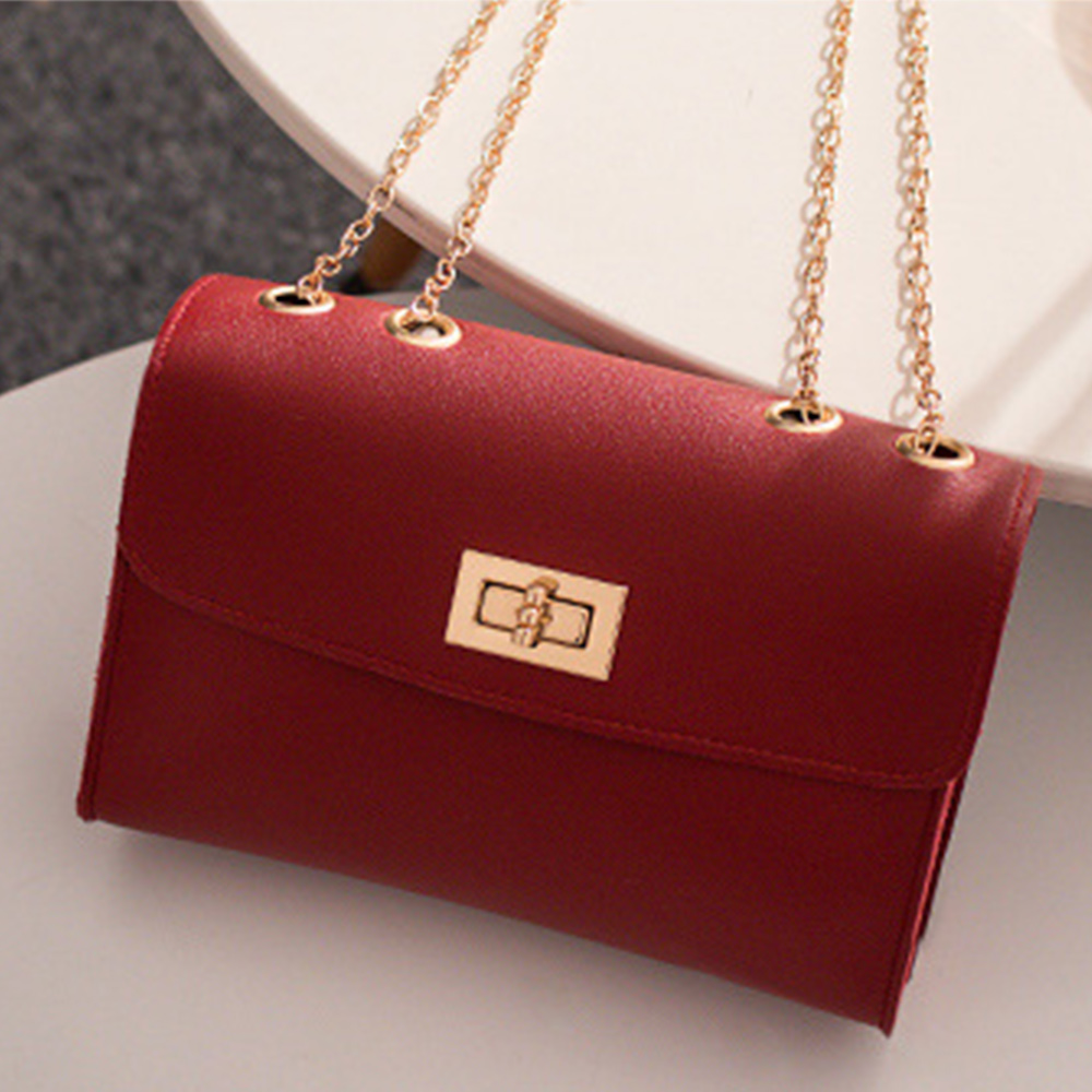 PU Leather Chain Mobile Phone Shoulder Bags Simple Small Square Bag Women