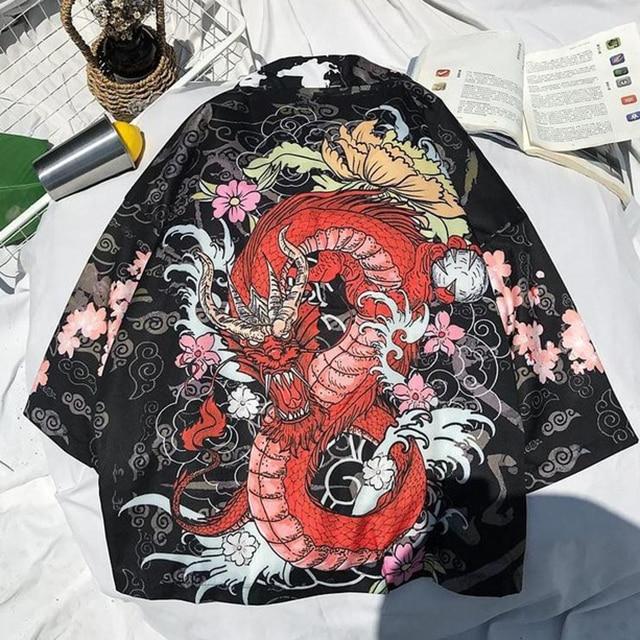 Man Japanese Cardigan Kimono Hip Hop Style Haori Traditional Casual Shirt Yukata Women Japanese Short Robe Loose Kimomo