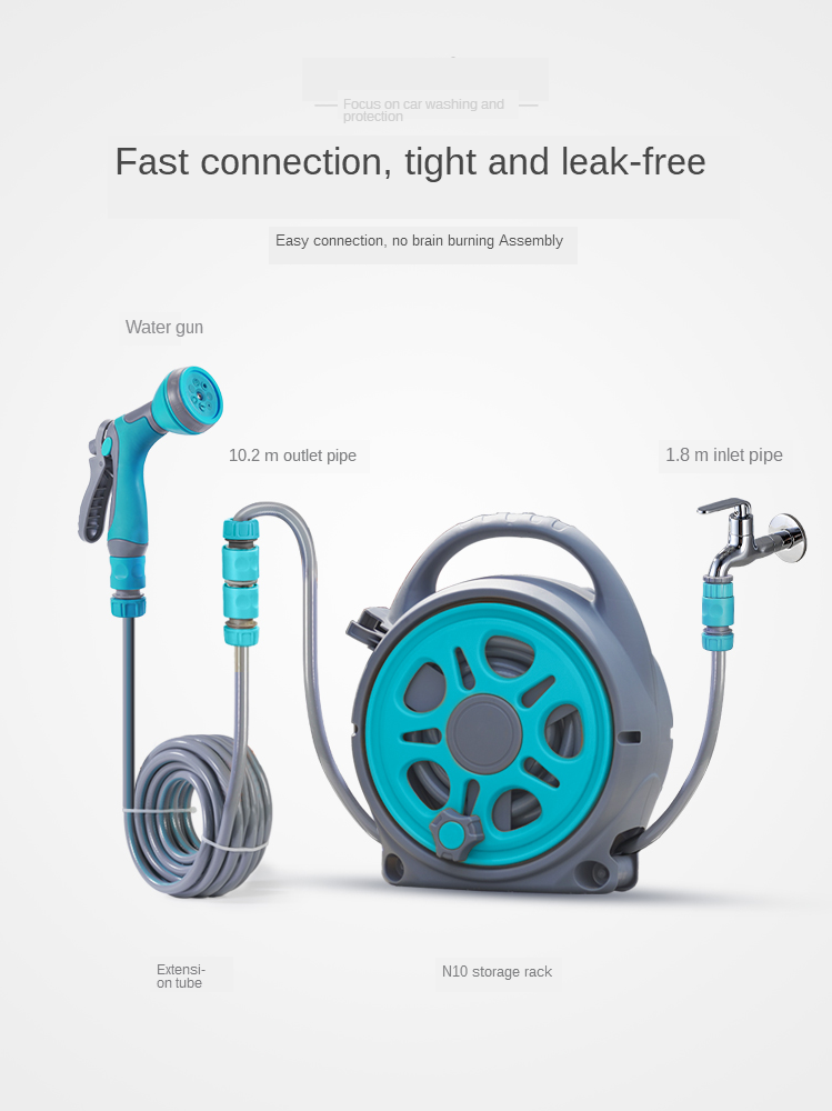 Automatic Pipe Coiler 10m Retractable Garden Hose Pipe Coiler Water Outdoor Spray Garage Tool Car Cleaning Tool