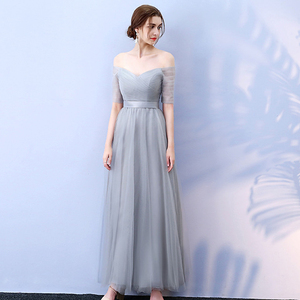 Image 5 - PLUSขนาดยาวผู้หญิงชุดราตรี 2020 A Lineไหล่ปาร์ตี้ชุดTulle ElegantชุดพิเศษRobe De soiree