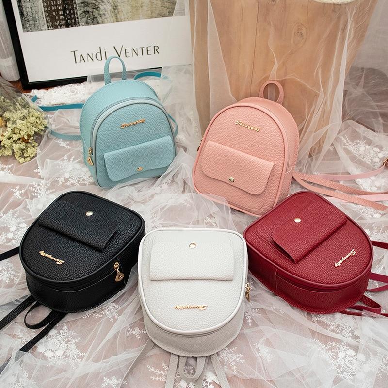 Backpack Women Leather Shoulder Bag For Teenage Girls Kids Multi-Function Small Bagpack Female Ladies School Backpack Bag