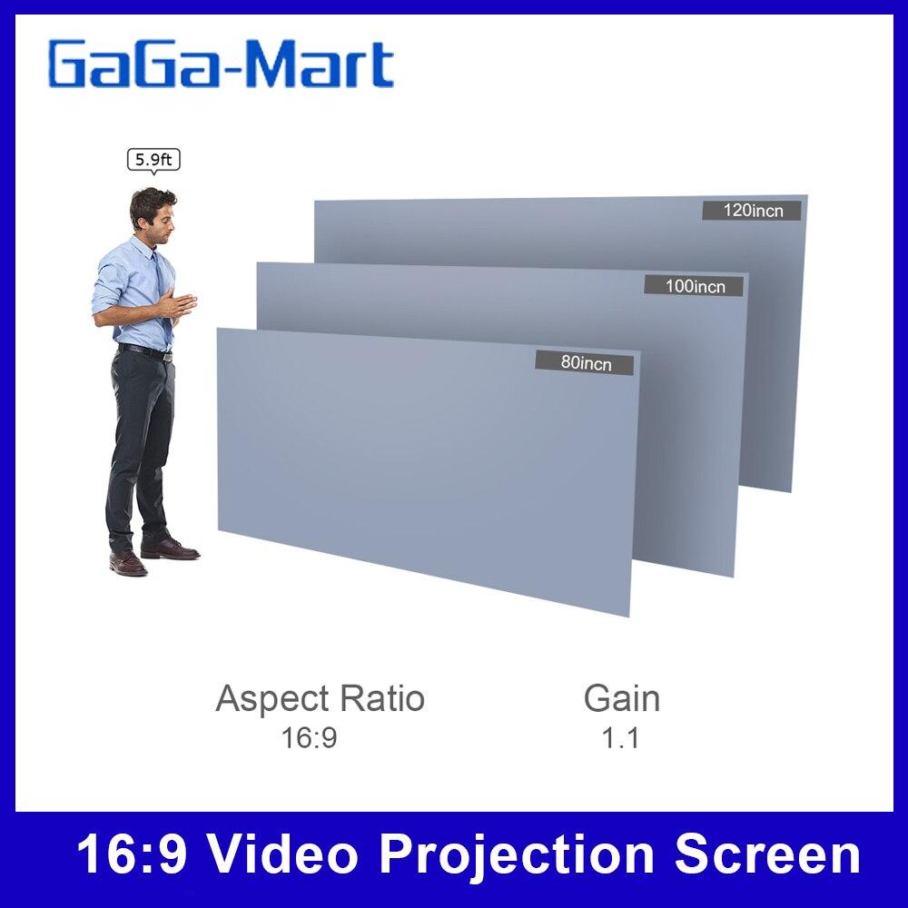 80-дюймовый портативный проектор экран HD 16:9 безрамный видео проекционный экран Складной настенный для домашнего кинотеатра