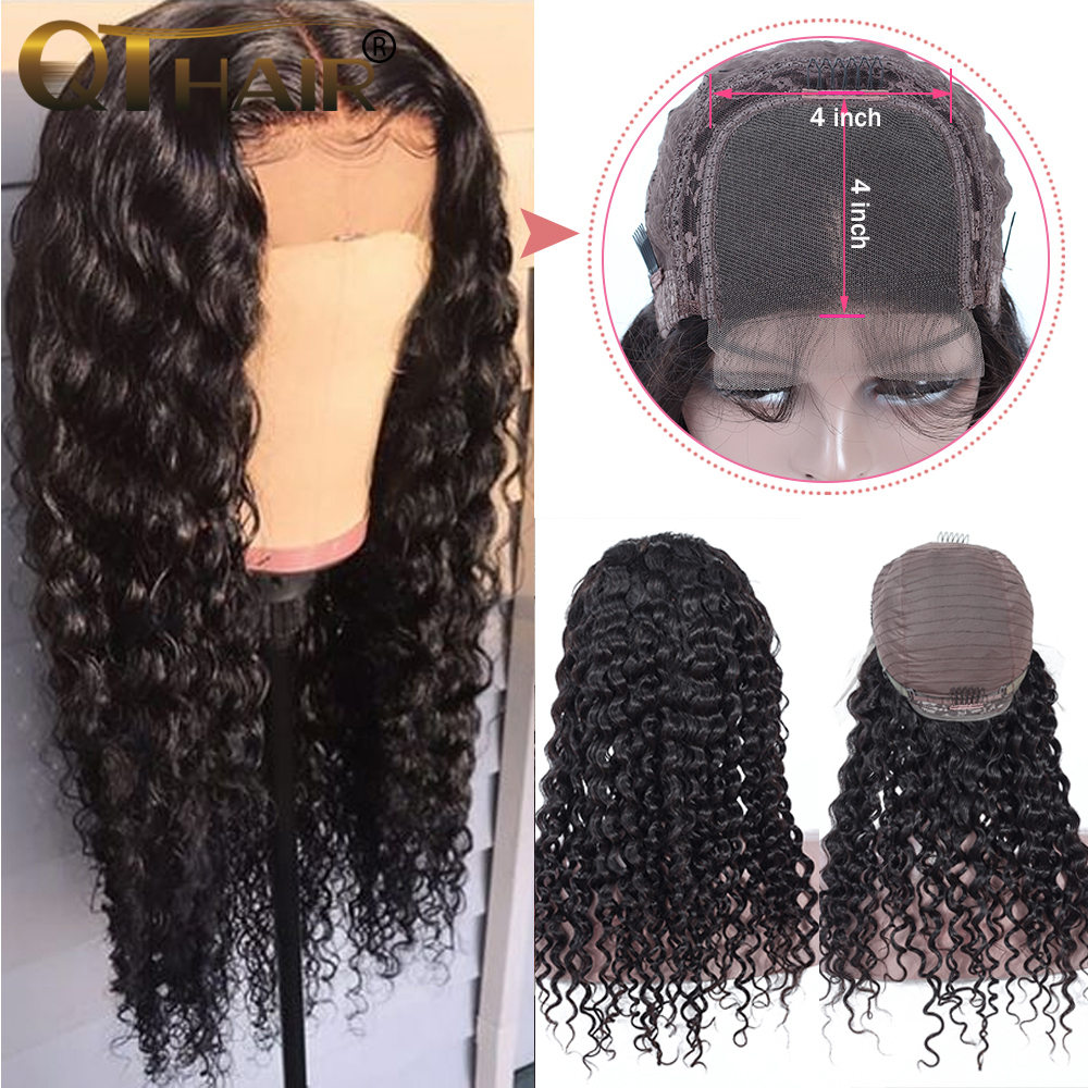 Deep Wave 4x4 Lace Closure Human Hair Wigs For Women Pre Plucked Hairline With Baby Hair Brazilian Remy Hair Bleached Knots