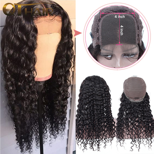 Image 2 - Deep Wave 4x4 Lace Closure Human Hair Wigs For Women Pre Plucked Hairline With Baby Hair Brazilian Remy Hair Bleached Knots
