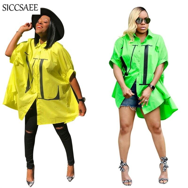 Letra Impressa Camisa Maxi Vestido de Grandes Dimensões Solto Streetwear Mini Hip Hop Cropped Assimétrico Vestidos Robe Femme Ropa Mujer 2019