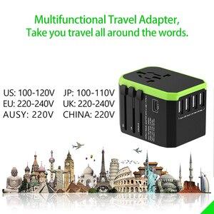 Image 5 - Adaptador de viaje Universal cargador de pared internacional adaptador de enchufe de CA con potencia inteligente de 5,6a y USB tipo C de 3,0a para EE. UU., UE, Reino Unido y Australia