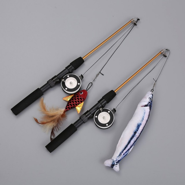 Retractable Fishing Rod Cat Toy