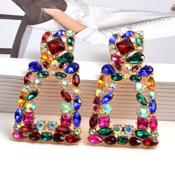 Metal Hollowed-out Hanging Colorful Crystals Dangle Drop Earrings  3