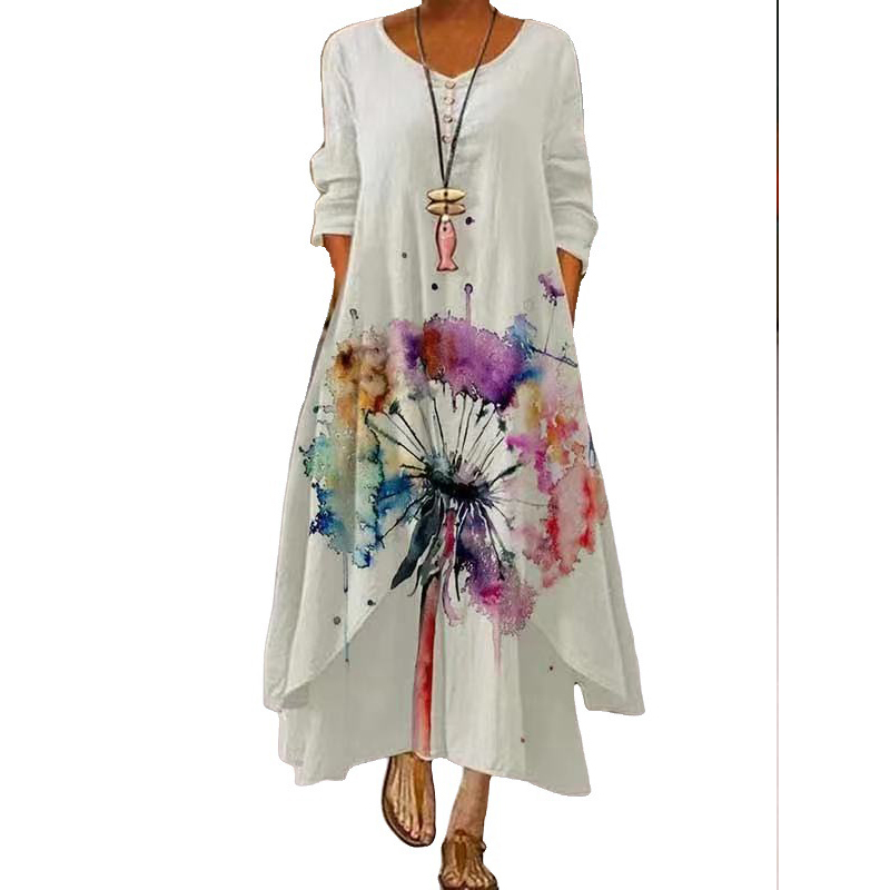 MOVOKAKA 2021 White Long Dress Women Floral Print Vintage Long Sleeve Elegant Dress Plus Size Vestido Women Casual Dresses Party 11