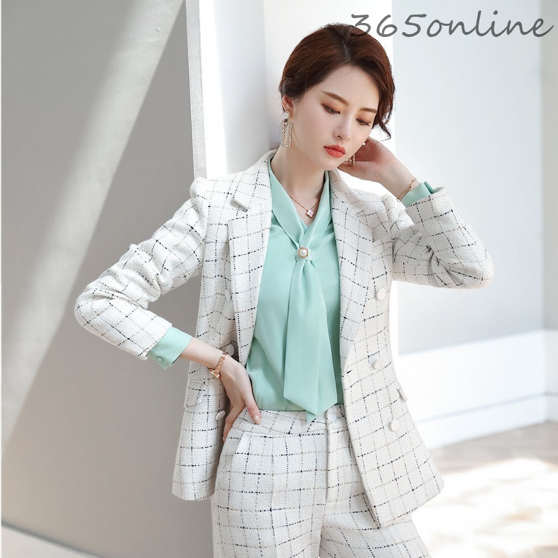 Women Double Breasted Blazers Jackets Coat High Quality Fabric Long Sleeve Blaser Uniform Designs Lady Professional Outwear Tops