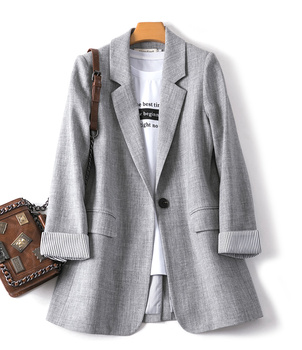 2021 New Spring Autumn Fashion Business Plaid Suits Women Work Office Casual Blazer Ladies Long Sleeve Gray Coats Slim Jacket 1