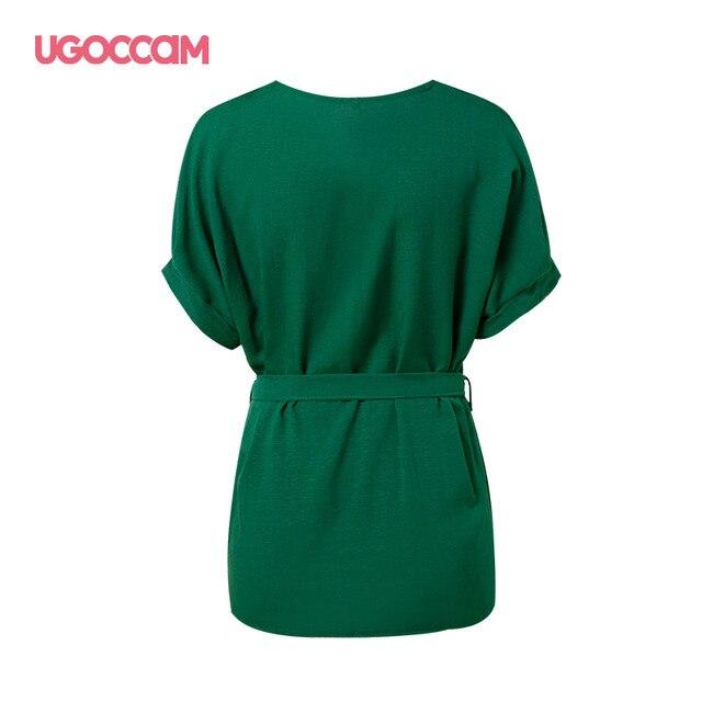 UGOCCAM Summer Women Blouses Sexy V Neck Plus Size Short Sleeve Shirt Loose Blouse Shirt Plus Size Tops blusas Women Clothes 3