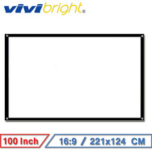 VIVIBRIGHT 100 inch 16:9 Portable Projector Screen ,White Screen for Home Theater Travel School And Office Support LED Projector(China)