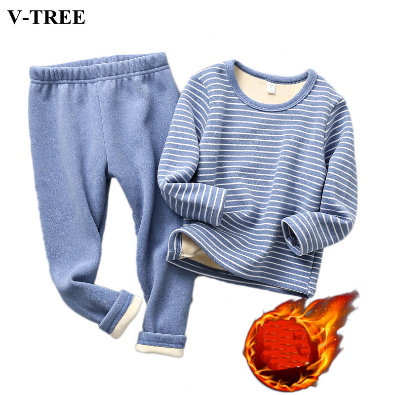 2019 Winter Kids Pajamas Sets Warm Pyjamas For Boys Thicken Girls Sleepwear 2-10years Fleece Baby Thermal Underwear