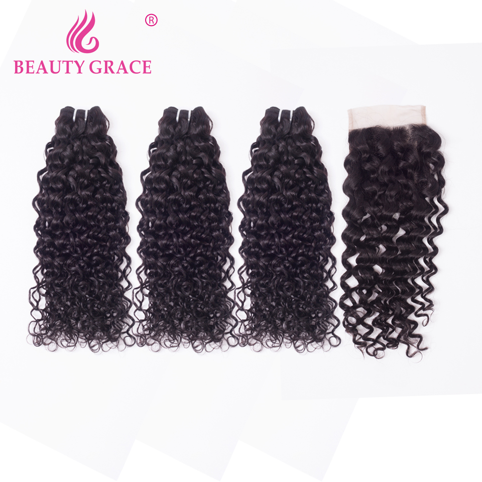 Water Wave Bundles With Closure 8-26 Inch Brazilian Hair Weave Bundles With Closure Remy Human Hair 3 Bundles With Closure