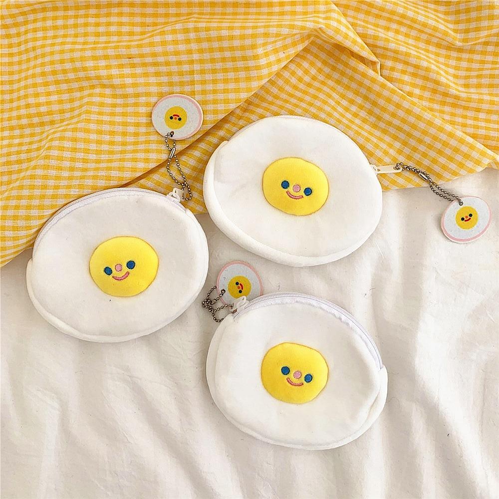 South Korea INS-Style Cute Poached Egg Mini Modeling Plush Coin Purse Students Coin Bag Lipstick Bag