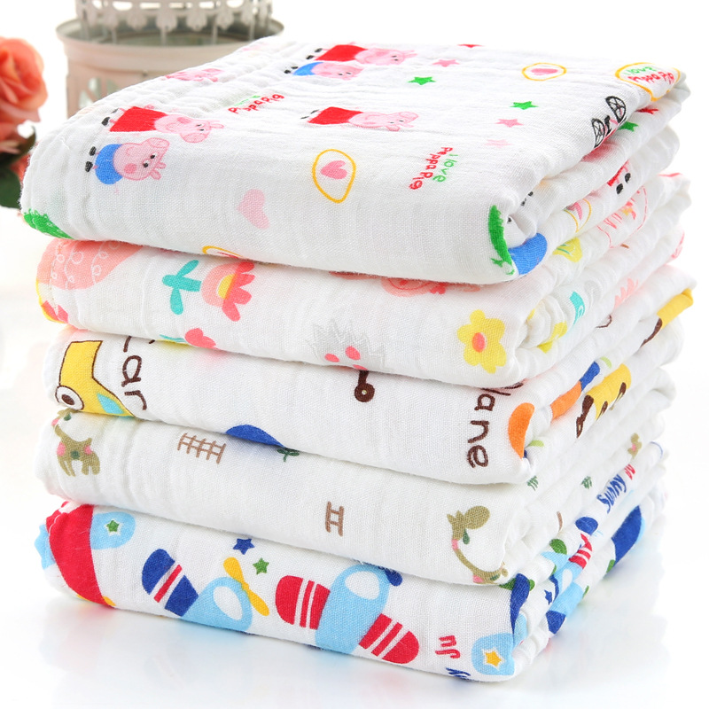 Four Layer High Density Washing Gauze Bath Towel Seersucker Wrapping Blanket Pure Cotton Wrinkling Infant Children's Quilt 110X1