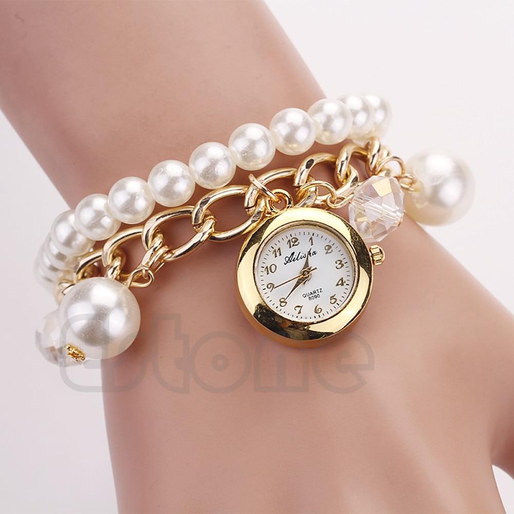 Women Faux Pearl Rhinestone Chain Bracelet Round Dial Analog FASHION Wrist Watch