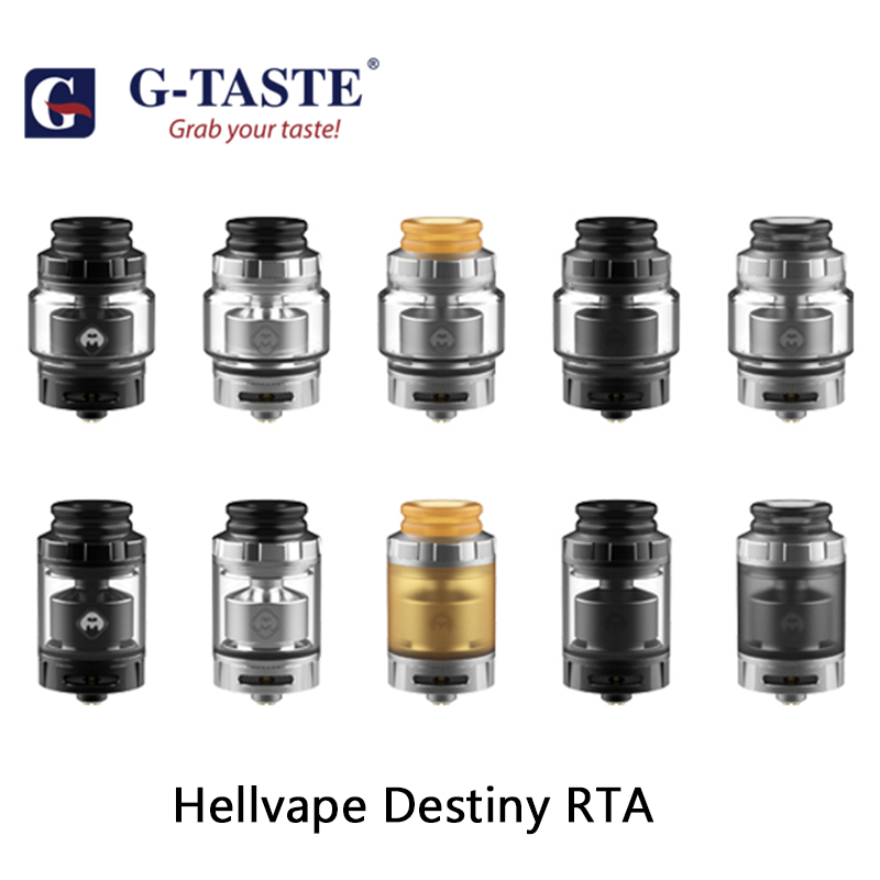 G-taste Vape Tank Hellvape Destiny RTA 2ml/4ml Tank Capacity With 810 Drip Tip & 24mm Diameter Electronic Cigarette Atomizer