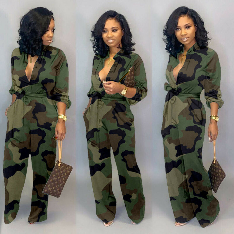 New Women Camo Printed Clubwear Playsuit Bodysuit Party Jumpsuit Romper Camouflage Strap Dungarees Harem Long Trousers Overalls