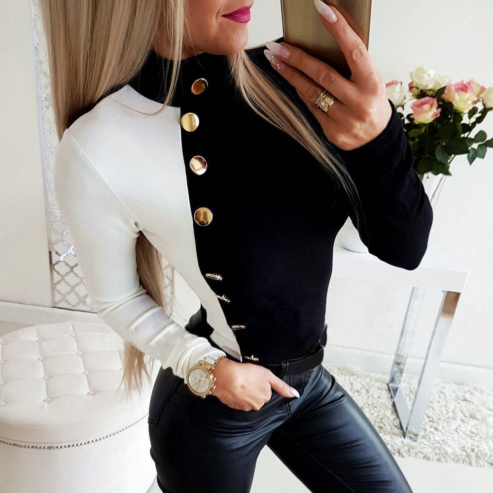 Turtleneck Button Women Tops And Blouse 2019 Long Sleeve Autumn Black-White Patchwork Lady Shirt Office Work Female Blouse D35
