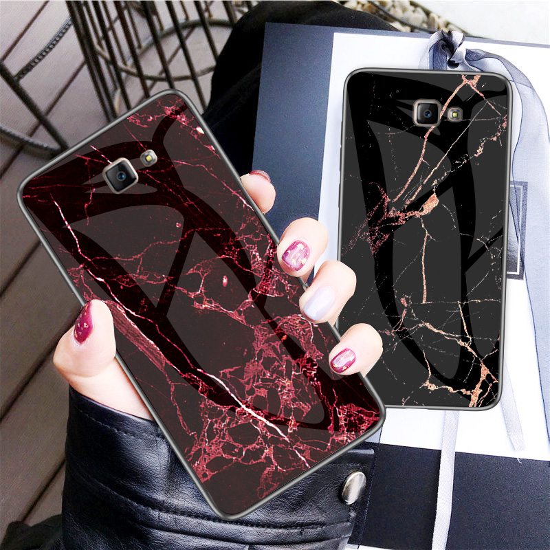 For Samsung Galaxy J5 J7 J2 Prime 2016 Case Marble Grain Tempered Glass Back Cover Hard Case for Samsung G532F G610F G570F image