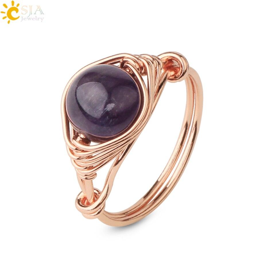 Csja anel de pedras naturais redondas, em ouro rosê, cor dourada, envoltório, artesanal, criativo, anéis para dedos feminino g345