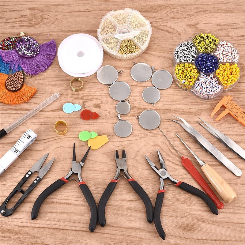 21pcs DIY Jewelry Making Kit Pliers Jewelry Tools Set Flat Nose Pliers Wire Cutter Pliers Rings Scissor Beading Needles Tweezer 4