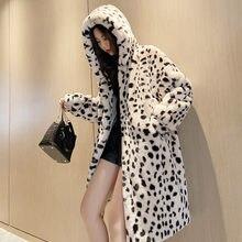 Длинное плюшевое пальто с капюшоном женская зимняя куртка новинка