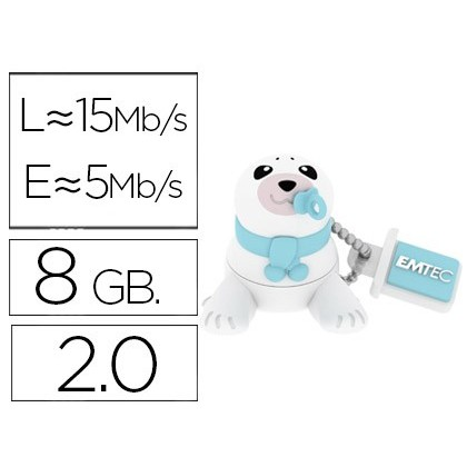 USB MEMORY EMTEC FLASH 8 GB 20 ANIMALS BEBE SEAL