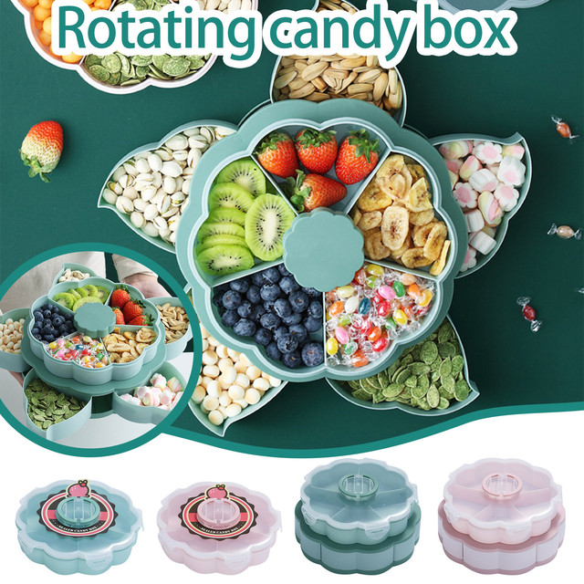40# Double Layer Candy And Dried Fruit Plate Creative Rotating Design Dessert Plates Specialty Plates For Fruit And Candy Deco