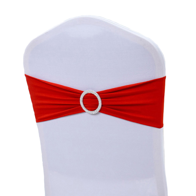100pcs Lycra ChairBand Stretch Elastic Spandex Chair Bow With Round Ring For Wedding Banquet Party Decoration Event Chair Sashes