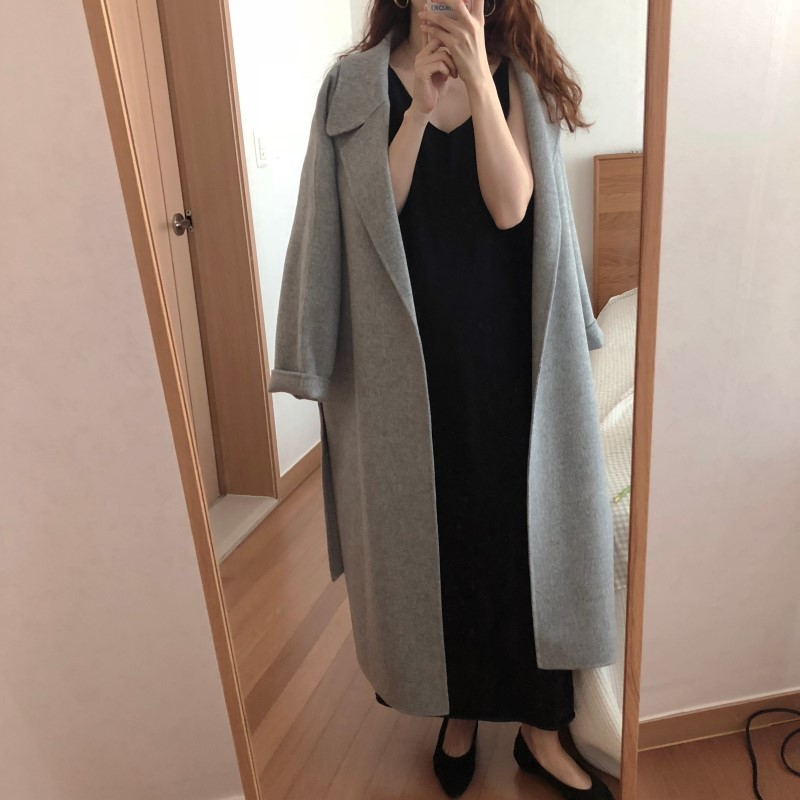 H8406a3b732eb4792af1e8a2380c78349P Winter Fashion Coats Women Wool-blend Coat Lazy Oaf Long Chunky Warm Coat Western Style Fitted Waist Lace-up  Loose Coat