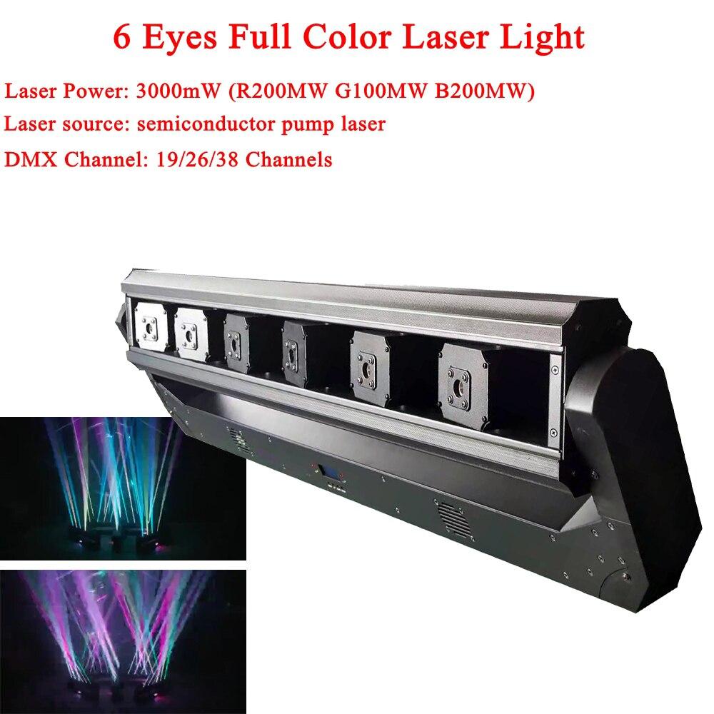 Projecteur Laser DJ 6 yeux lumière Laser couleur DMX rvb Effet de scène éclairage pour la musique Disco lumière de mariage de noël