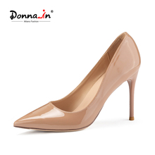 Donna-in 2021 New Spring Women's Shoes High Heels 3 Inch Pointed Toe Patent Leather Office Ladies Stiletto Pumps Sexy Dress Shoe