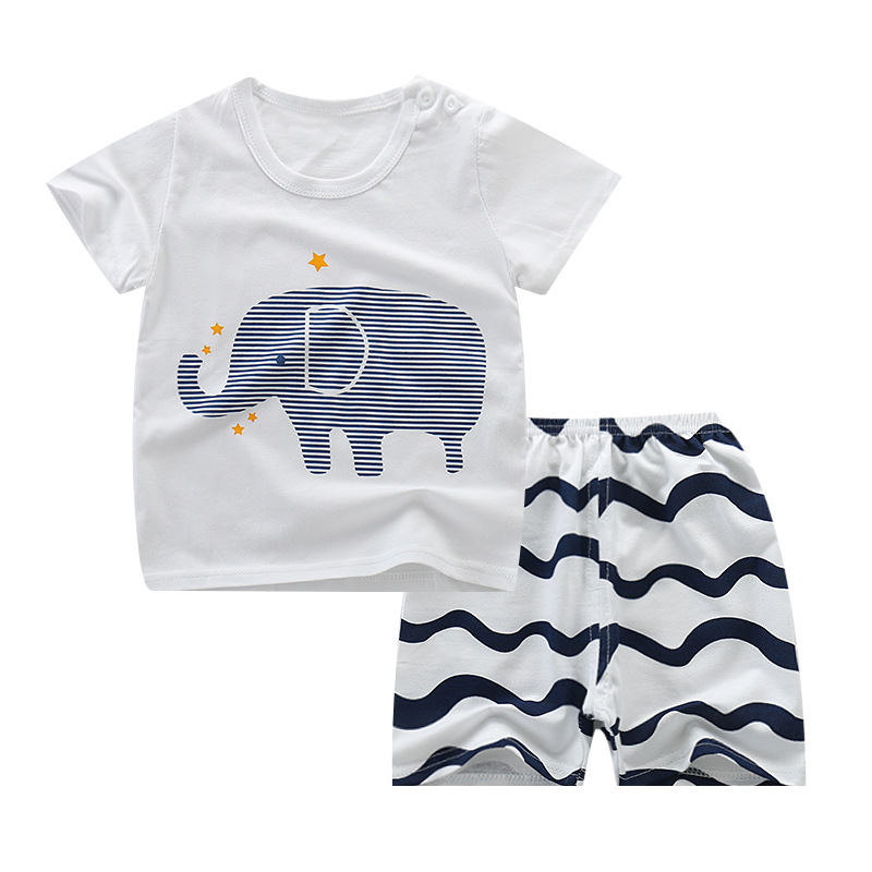 2019 Summer Baby Clothing Set Cotton Cute Pattern New Baby Boy Clothing Sets 0-8Year Baby Suit Set Baby Clothes Toddler Clothes