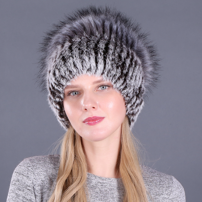 Good Elastic Natural Fluffy Faux Silver Fox Fur Hat New Winter Women Knitted Real Rabbit Fur Hats Lady Real Fur Cap Wholesale