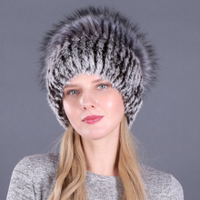Good Elastic Natural Fluffy Faux Silver Fox Fur Hat New Winter Women Knitted Real Rabbit Hats Lady Cap Wholesale