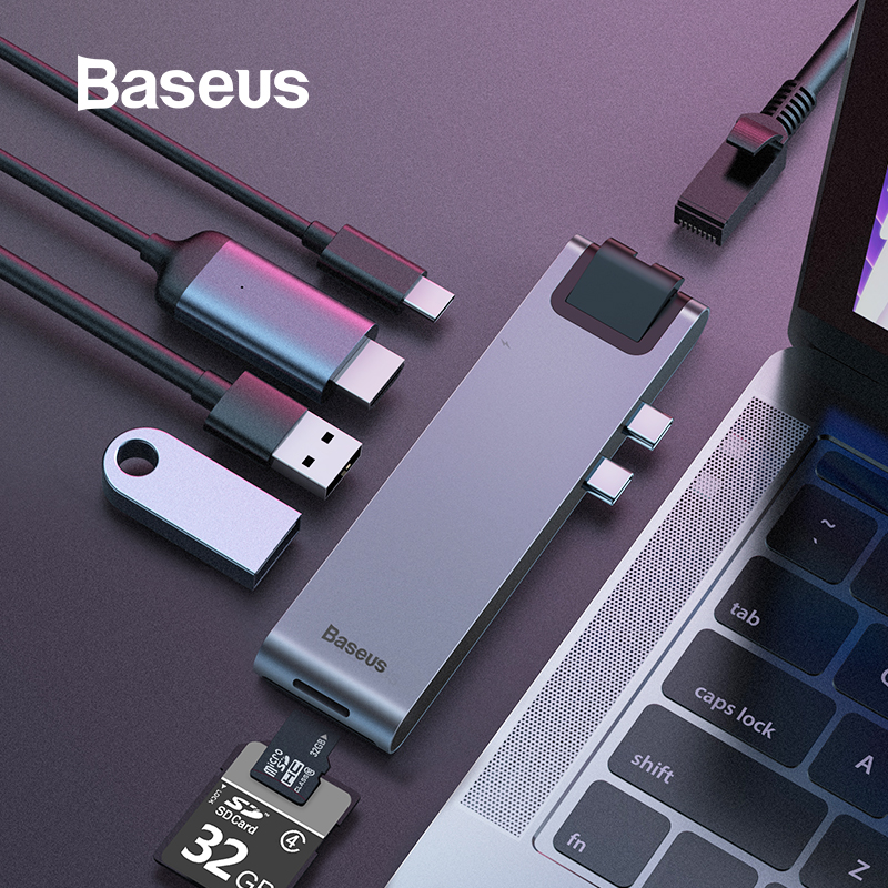 Baseus USB C HUB to Multi USB 3.0 HDMI USB HUB for MacBook Pro USB Splitter 7 Ports Thunderbolt 3 HUB RJ45 Dual USB Type C HUB body jewelry