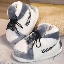 Nouveau unisexe basket-ball pantoufles hiver femmes mignon Sneaker maison confortable 2021 chaude hommes maison chaud doux intérieur plancher drôle diapositives