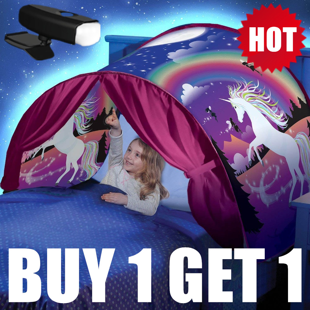 BUY 1 TENT GET 1 LED  Dream Tents  With Led Light Unicorn Space Winter Dinosaur Twin Size Children Kid Birthday Christmas Gift