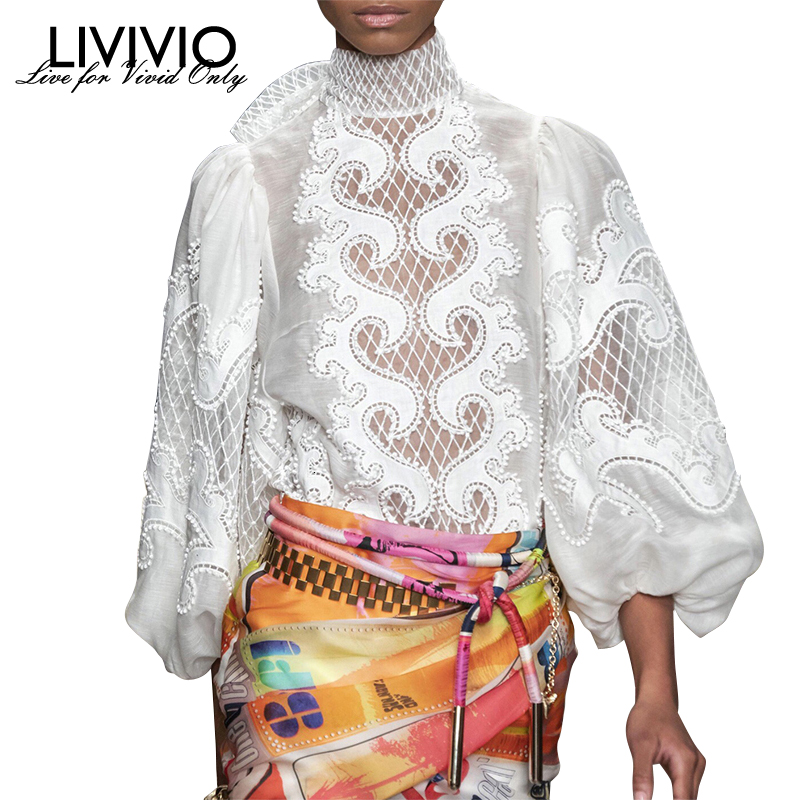 [LIVIVIO] White Elegant Embroidery Women's Shirt Turtleneck Lantern Sleeve Female Blouse 2020 Spring Fashion Clothing New
